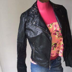 Customized studded leather jacket